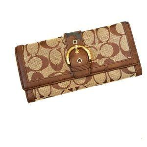 COACH Woven Brown Wallet